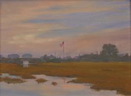 American Flag at dawn