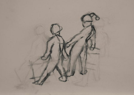 Sled, charcoal sketch